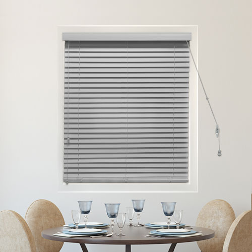 Simply Pewter 2 In. 39 x 64 In. Faux Wood Blinds