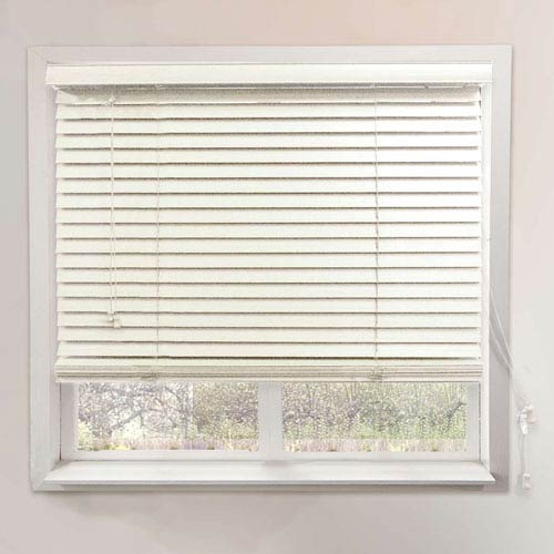 Chicology Horizontal Venetian 46-Inch x 64-Inch Simply White Faux Wood Blind