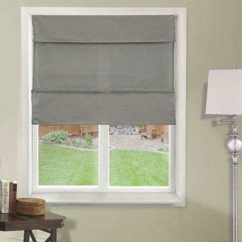 Daily Gray 27-Inch x 64-Inch Cordless Magnetic Roman Shade