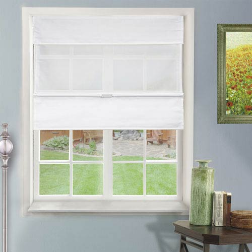 Chicology Daily White 31-Inch x 64-Inch Cordless Magnetic Roman Shade