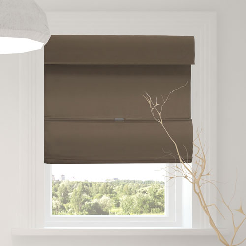 Chicology Grounded Brown 31 x 64 In. Room Darkening Cordless Magnetic Roman Shades