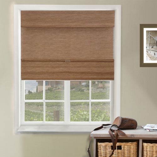 Chicology Jamaican Truffle 35-Inch x 64-Inch Cordless Magnetic Roman Shade