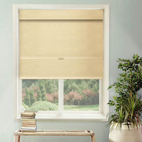 Chicology Mountain Almond Cordless Mag Roman Shade, 23 x 64