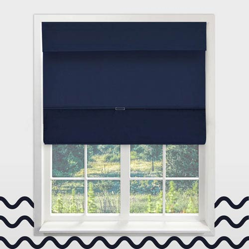 Cordless Sailors Navy 34.5 In. x 64 In. Magnetic Roman Shade