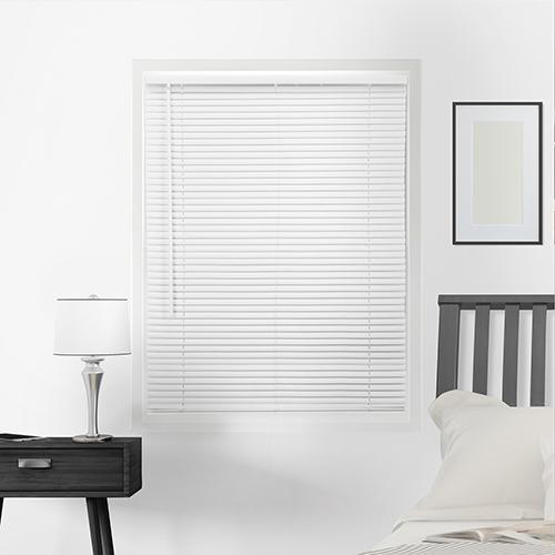 Horizontal Venetian Gloss White 64 x 72 In. Cordless Mini Blinds