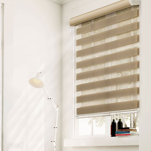 West Taupe 72 x 23-Inch Cordless Zebra Roller Shade