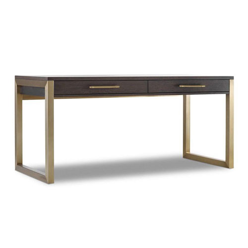 Curata Dark Wood and Gold Short Left, Right, Freestanding Desk