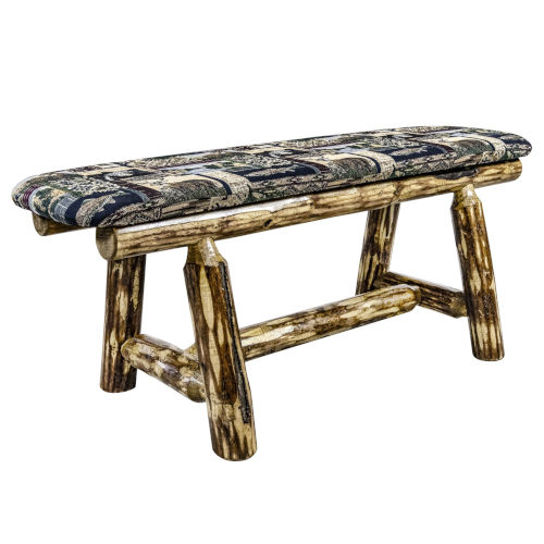 Glacier Country Stain and Lacquer Plank Style Bench with Woodland Upholstery