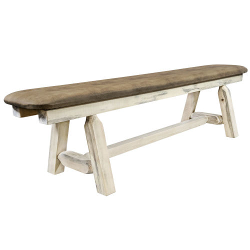 Homestead Clear Lacquer 6 Foot Plank Style Bench with Buckskin Upholstery