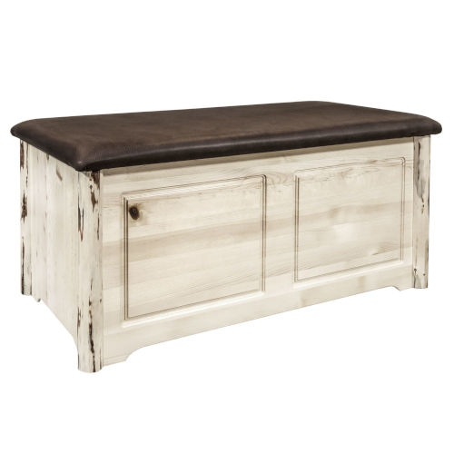 Montana Clear Lacquer Blanket Chest with Saddle Upholstery