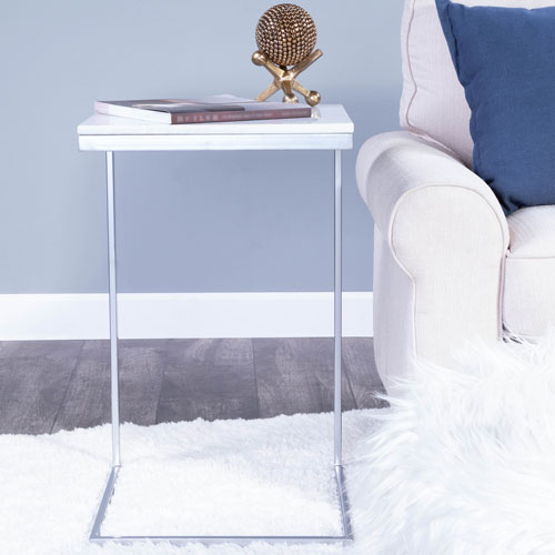 Lawler Nickel Metal and Marble End Table
