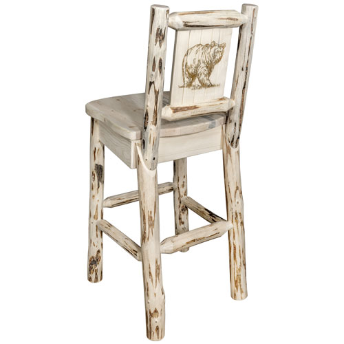 Montana Counter Height Barstool with Back, with Laser Engraved Bear Design, Clear Lacquer Finish