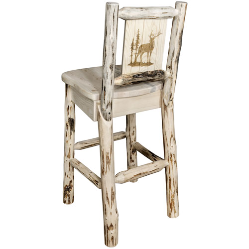 Montana Barstool with Back, with Laser Engraved Elk Design, Clear Lacquer Finish