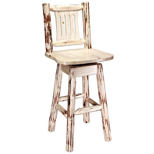 Montana Woodworks Unfinished Barstool W Back And Swivel