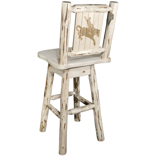 Montana Counter Height Barstool with Back and Swivel with Laser Engraved Bronc Design, Ready to Finish