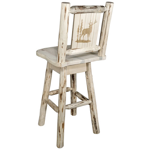Montana Woodworks    Montana Counter Height Barstool with Back and Swivel with Laser Engraved Elk Design, Clear Lacquer