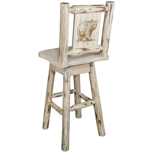 Montana Woodworks    Montana Barstool with Back and Swivel with Laser Engraved Bear Design, Clear Lacquer Finish