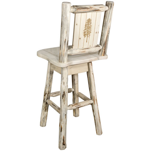 Montana Woodworks    Montana Barstool with Back and Swivel with Laser Engraved Pine Tree Design, Clear Lacquer Finish