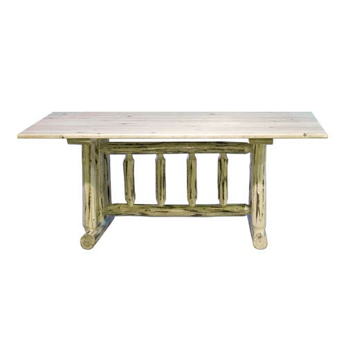 Montana Woodworks Unfinished Dining Table Trestle Based