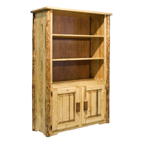 Glacier Country Stained and Lacquered Bookcase w/ Storage