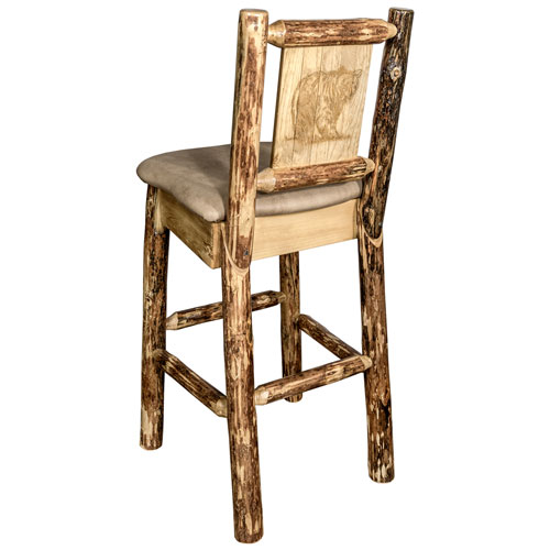 Montana Woodworks    Glacier Country Counter Height Barstool with Back - Buckskin Upholstery, with Laser Engraved Bear Design