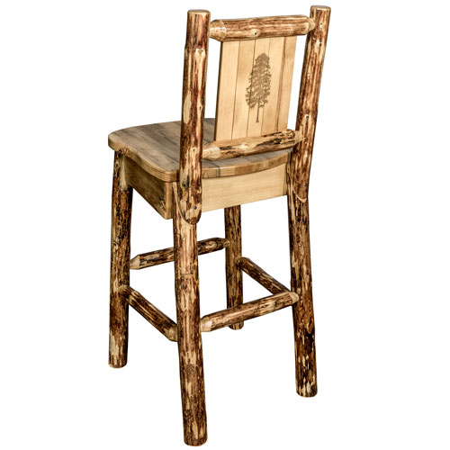 Glacier Country Counter Height Barstool with Back, with Laser Engraved Pine Tree Design