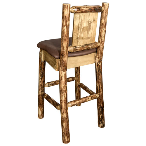Montana Woodworks    Glacier Country Counter Height Barstool with Back - Saddle Upholstery, with Laser Engraved Elk Design