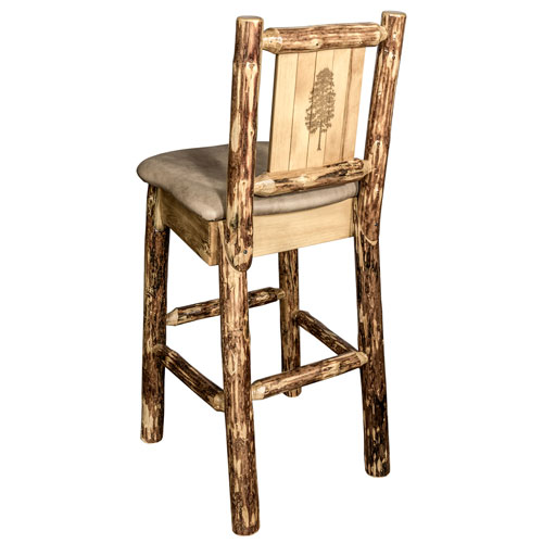Montana Woodworks    Glacier Country Barstool with Back - Buckskin Upholstery, with Laser Engraved Pine Tree Design