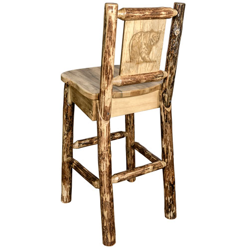 Montana Woodworks    Glacier Country Barstool with Back, with Laser Engraved Bear Design