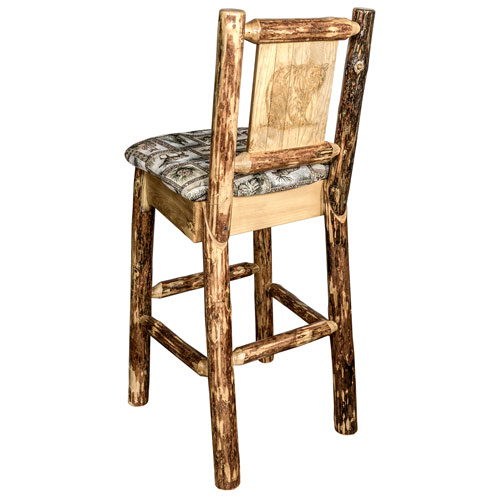 Montana Woodworks    Glacier Country Barstool with Back - Wildlife Upholstery, with Laser Engraved Bear Design