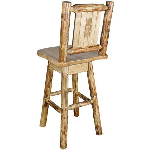 Montana Woodworks    Glacier Country Counter Height Barstool with Back and Swivel with Laser Engraved Pine Tree Design