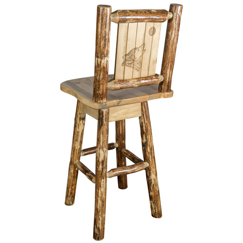 Glacier Country Counter Height Barstool with Back and Swivel with Laser Engraved Wolf Design
