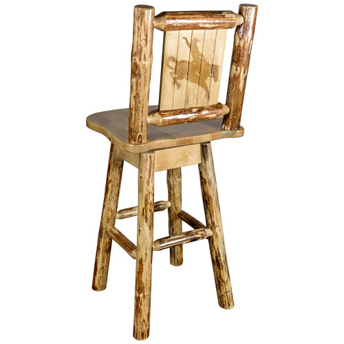 Montana Woodworks    Glacier Country Barstool with Back and Swivel with Laser Engraved Bronc Design
