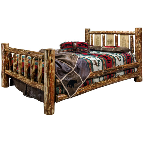 Glacier Country California King Bed with Laser Engraved Pine Tree Design