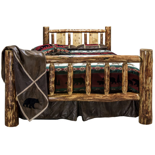 Glacier Country California King Bed with Laser Engraved Wolf Design