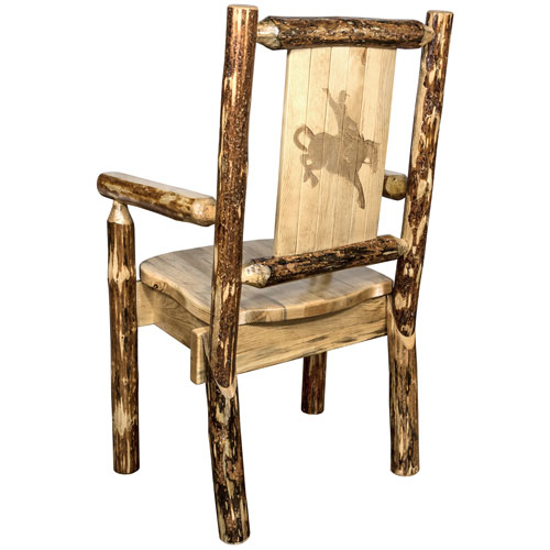 Montana Woodworks    Glacier Country Captains Chair with Laser Engraved Bronc Design