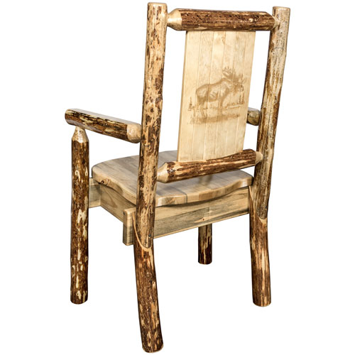 Montana Woodworks    Glacier Country Captains Chair with Laser Engraved Moose Design