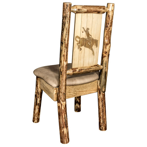 Glacier Country Side Chair - Buckskin Upholstery, with Laser Engraved Bronc Design