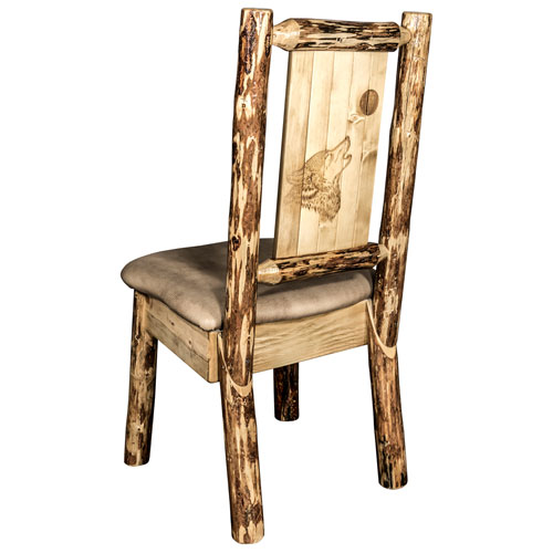 Montana Woodworks    Glacier Country Side Chair - Buckskin Upholstery, with Laser Engraved Wolf Design