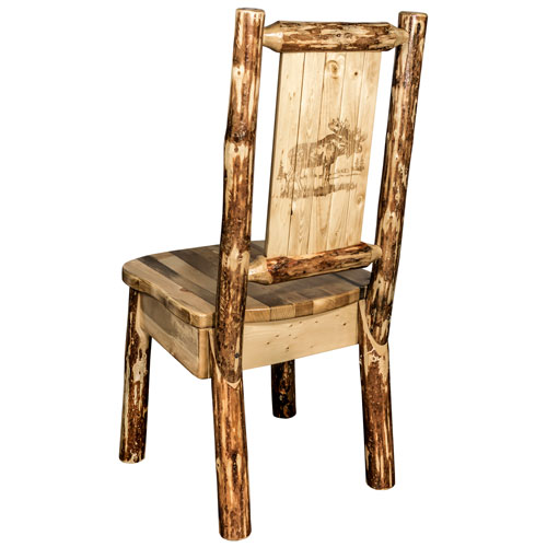 Montana Woodworks    Glacier Country Side Chair with Laser Engraved Moose Design