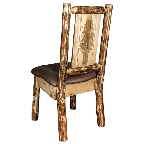 Montana Woodworks    Glacier Country Side Chair - Saddle Upholstery, with Laser Engraved Pine Tree Design