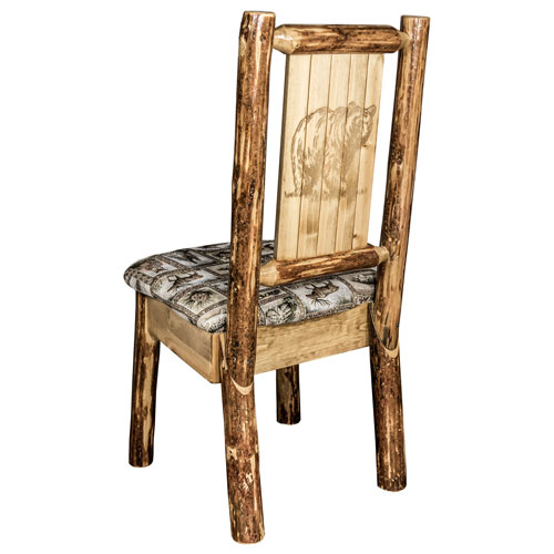 Montana Woodworks    Glacier Country Side Chair - Wildlife Upholstery, with Laser Engraved Bear Design