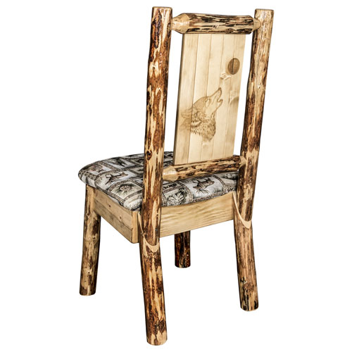 Glacier Country Side Chair - Wildlife Upholstery, with Laser Engraved Wolf Design