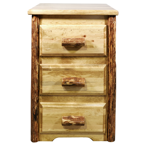 Montana Woodworks    Glacier Country Stained and Lacquered Three Drawer Nighstand