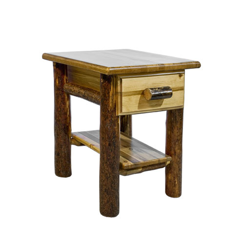 Montana Woodworks    Glacier Country Stained and Lacquered Nightstand w/ Drawer and Shelf