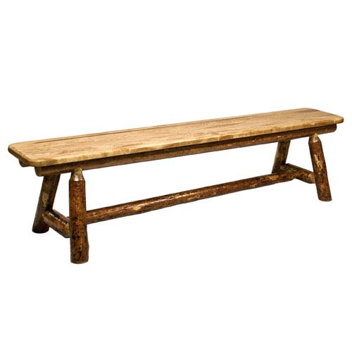 Glacier Country Stained and Lacquered Plank Style Bench Six Feet