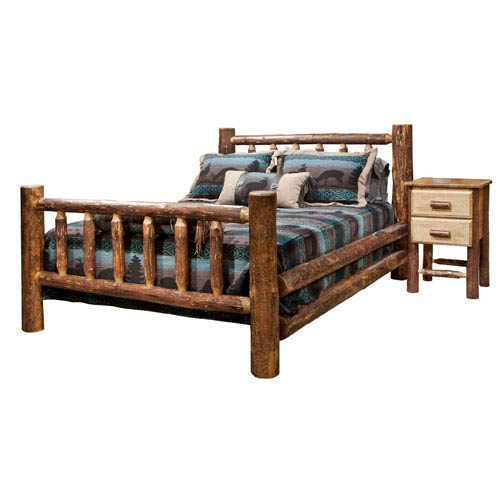 Montana Woodworks    Glacier Country Stained and Lacquered Log Bed Queen Only