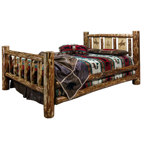Glacier Country Queen Bed with Laser Engraved Bronc Design
