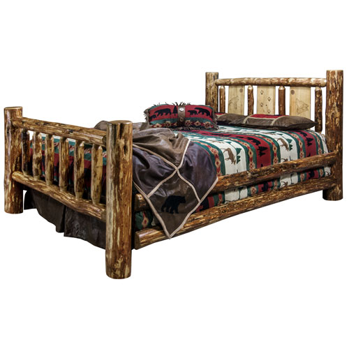 Glacier Country Queen Bed with Laser Engraved Wolf Design