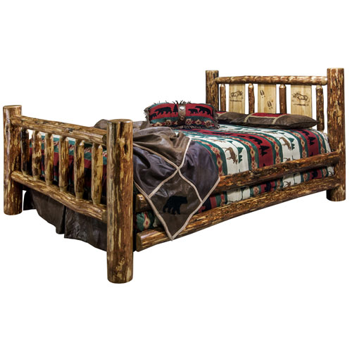 Montana Woodworks    Glacier Country Twin Bed with Laser Engraved Moose Design